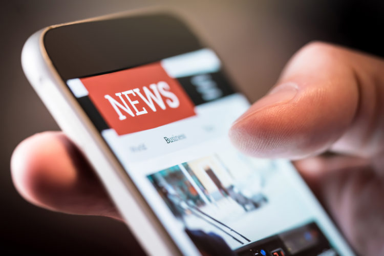 news or press release on mobile device