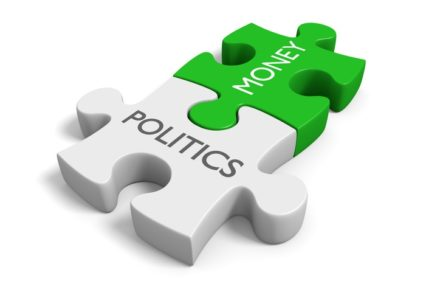 puzzle pieces money politics green grey fit together