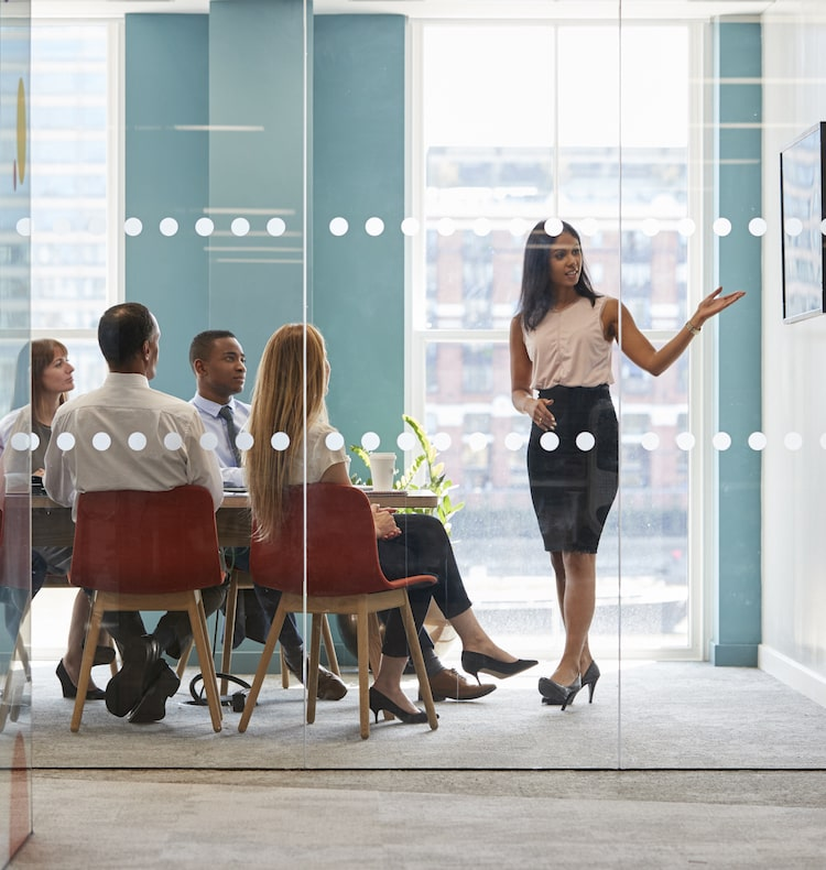 woman presenting in conference room