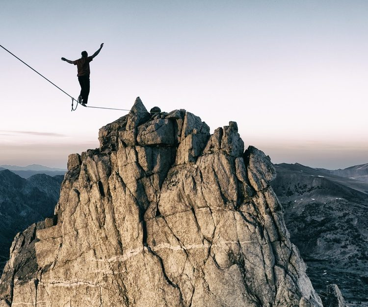 Slackline high in the mountains